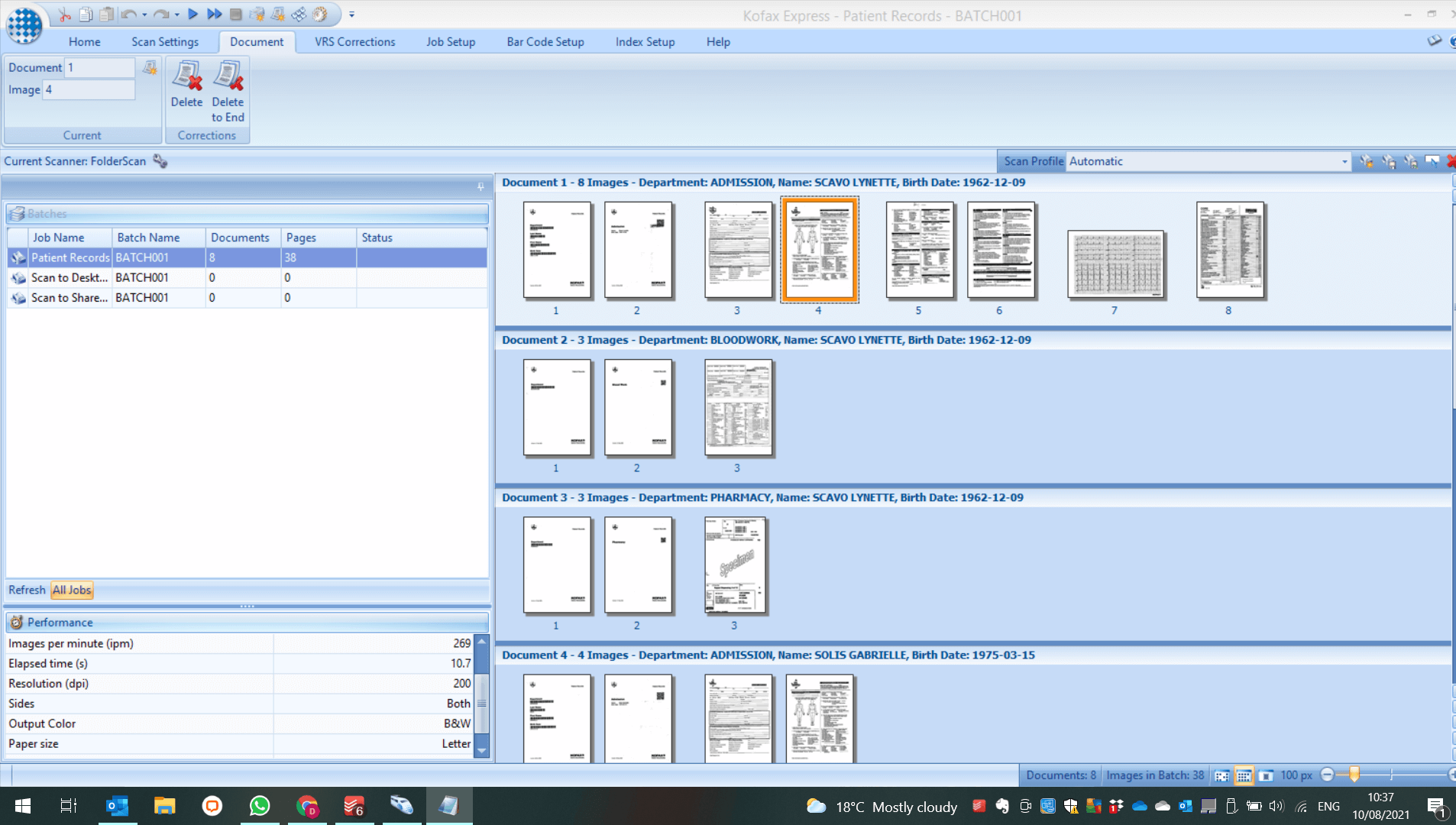 Display of the document settings within Kofax Express dashboard