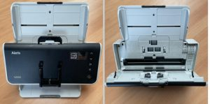 Two images of same scanner. Closed on left and opened on right to display roller kits inside